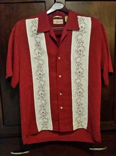 Men's CUBAVERA L Red Maroon ButtonUp Short Sleeve Shirt EMBROIDERED Floral EUC in Clothing, Shoes & Accessories, Men's Clothing, Casual Shirts | eBay