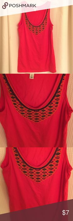 Pretty red Aztec beaded tank Beaded Aztec- esque red tank in great condition Old Navy Tops Tank Tops