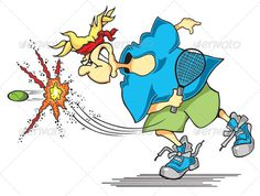 Photoshop cartoon illustration of man playing tennis. For use use in print or web. Layeredcolor elements: hair, head band, skin, s