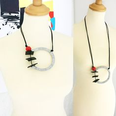 Long statement necklace Pendant necklace Modern necklace Long necklace Gift for her Contemporary jewelry Bib necklace Geometric necklace Leather Necklace, Leather Jewelry, Leather Cord, Black Leather, Contemporary Jewellery, Modern Jewelry, Contemporary Art, Fabric Jewelry, Clay Jewelry