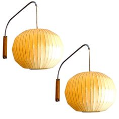 George Nelson Wall Mounted Bubble Lamps 1950 for Howard Miller | From a unique collection of antique and modern wall lights and sconces at http://www.1stdibs.com/furniture/lighting/sconces-wall-lights/