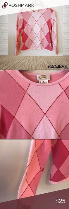 🌸5/$25 Sale Talbots Argyle Sweater 100% Cotton. Perfect for Valentines Day! Talbots Sweaters