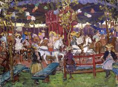 Maurice Brazil Prendergast (American, 1858–1924), The Flying Horses. Oil on canvas, about 1902–1906. Purchased with funds from the Florence Scott Libbey Bequest in Memory of her Father, Maurice A. Scott, 1957.22. Gallery 30B
