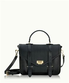 Black Hayden Satchel, Embossed Python
