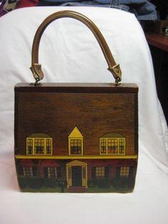 Vintage Wood Painted House Purse
