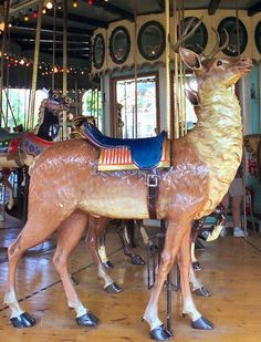 Six Flags New England Carousel Illions Deer Outside Row Stander |© Jean Bennett | Date of picture: July 1999