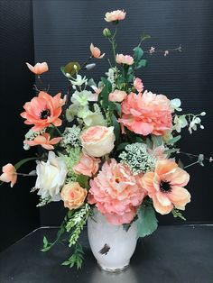 Large Peachy Spring Arrangement 2017 by Andrea