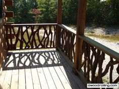 Check out Mountain Laurel Handrail pictures of installed projects with new images. Stairs, balcony and deck railing pictures! Porch Step Railing, Deck Railing Design, Wood Railing, Deck Railings, Stair Railing, Railing Ideas, Deck Design, Cheap Log Cabins, Cabin Decks