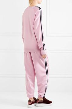 Olivia von Halle - Malibu Silk-blend Sweatshirt And Track Pants Set - Baby pink