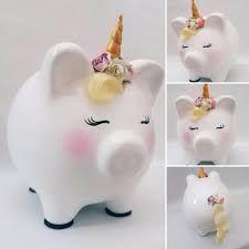 Resultado de imagen para alcancias de cerditos decoradas para niña Money Box, Unicorn Party, Cool Toys, Girly Things, Origami, Diy And Crafts, Baby Shower, Piggy Banks, Things To Sell
