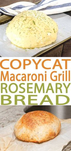 Best ever Macaroni Grill Bread Copycat Rosemary Bread recipe. This bread is wonderful to pair with many different soups. This is an easy bread recipe and one of our favorite copycat recipes.