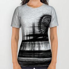 White Noise Santa Monica Pier All Over Print Shirt by Christine Aka Stine1 | Society6