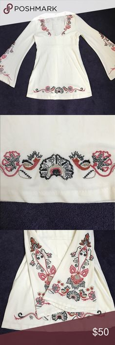Free People White Embroidered Dress Free People White Embroidered Dress - Size 6 - Worn Once Free People Dresses Mini