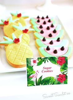 Loving the Tropical Sugar Cookies at this Flamingos Birthday Party!! See more party ideas and share yours at CatchMyParty.com
