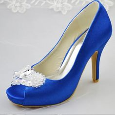 Women s Royal Blue Peep Toe Platform Rhinestone Stiletto Heel Pumps Bridal  Shoes 08de70bfb3f5