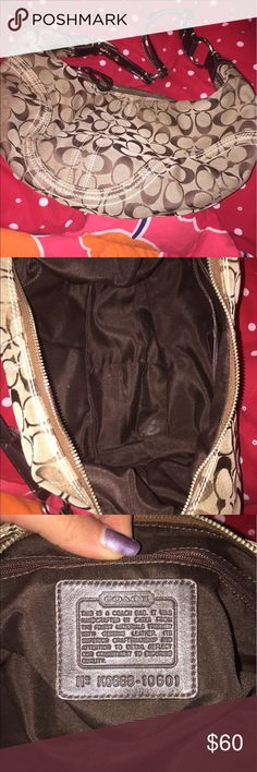 """Coach Classic """"C"""" Handbag In good condition. Outside material has no flaws, hands has some wear.  Inside could use light cleaning. Coach Bags Hobos"""
