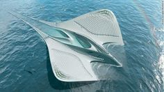 Seasteads 3D-printed on the ocean will not resemble skyscrapers rooted in bedrock. The City of Meriens follows the form and function of a manta ray. © Jacques Rougerie Architecte, France. Architecture Durable, Futuristic Architecture, Sustainable Architecture, Sustainable Design, Biomimicry Architecture, Environmental Architecture, Water Architecture, Eco City, Research Centre