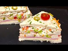 Tortas Sandwich, Sandwich Cake, Tapas, Gourmet Sandwiches, Good Food, Yummy Food, Great Appetizers, Drinks Alcohol Recipes, Cold Meals