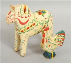 Dala Horse and Rooster, 1900s first half.