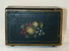 Antique 1881 Americana Wooden Bank Box Form Hand Painted Colorful Fruits Design   eBay