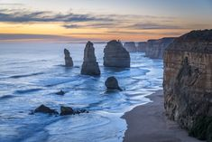 Sunset at the Twelve Apostles along the Great Ocean Road, Australia. Ocean, Australia, Sunset, Water, Rocks, Outdoor, Gripe Water, Outdoors, The Ocean