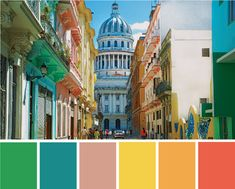 A bright, tropical color palette inspired by the streets and buildings of Havana, Cuba. Click through to see more spaces inspired by the formerly forbidden island! Bright Decor, Colorful Decor, Bacardi, Home Decor Colors, House Colors, Latin Decor, Havana Nights Theme, Cuban Decor, Havana Party