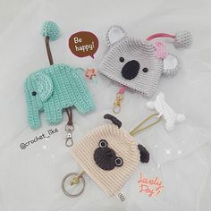 my new item ^^…koala &elephant key cover .instock : ready to ship :Available at my ETSY shop my new item ^^…koala &elephant key cover .instock : ready to ship :Available at my ETSY shop Crochet Key Cover, Crochet Case, Crochet Gifts, Crochet Dolls, Crochet Keychain, Crochet Bookmarks, Crochet Cowl Free Pattern, Crochet Patterns, Key Covers