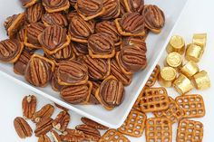 "Pretzel Turtles -  one of my favorite ""easy but awesome"" desserts!! grid style pretzels + rolo candies + pecans (place unwrapped rolo on pretzel, bake in 250 oven 4-6 minutes, press pecan half on top, chill in refrigerator)"