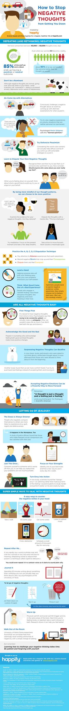 Here's How To Be More Happy & Less Negative  Happiness,  smiling, laughing, we all want more of it, but so many people these days are so stressed and full of worry and negativity. Study this awesome infographic and change your attitude and thinking today. Your mind is a powerful thing, it can create and inspire or destroy and debilitate. It all in our heads and we have the power to choose our thoughts, actions and reactions. So please choose wisely.