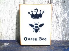 Queen Bee SignWood Wall ArtValentine GiftWood by BlackCrowCurios