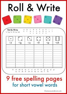 Need a spelling game for short vowel words? We love this roll & write short vowel activity - it's got 9 free pages!
