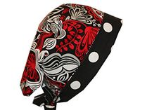 Surgical Scrub Hat Chef Vet Doctor Chemo Nurse Cap Pixie Red Silver Floral Dots *** You can get more details by clicking on the image.(This is an Amazon affiliate link and I receive a commission for the sales)