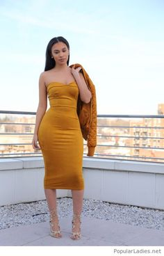 Yellow dress and jacket with nude sandals