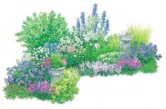 Diy Garten Design tips for an ever-flowering bed Always-flowering bed with planting plan. Patio Plants, Landscaping Plants, Garden Plants, Amazing Gardens, Beautiful Gardens, Planting Plan, Backyard Garden Design, Diy Garden Projects, Garden Care