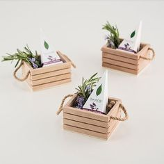 Give your favor presentation instant personality with this miniature wooden crate featuring twine handles. Completely irresistible, this unique favor.Top 19 Country Wedding Decorations - Outside The Box Wedding Affordable wholesale table accessories, Wooden Crates Wedding, Wood Crates, Wood Boxes, Diy Home Crafts, Crafts For Kids, Yarn Crafts, Wedding Favor Crafts, Wedding Favours, Wedding Boxes