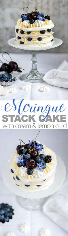 Meringue stack cake with whipped cream and lemon curd filling topped with blueberries, blackberries and cherries. Lemon Dessert Recipes, Easy Baking Recipes, Lemon Recipes, Easy Cake Recipes, Cupcake Recipes, Easy Desserts, Sweet Recipes, Cupcake Cakes, Cupcakes