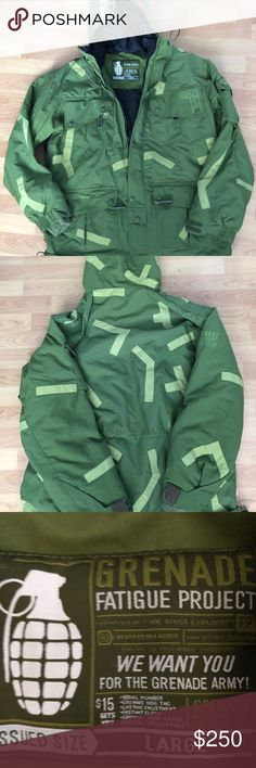 Grenade Fatigue project green military jacket GRENADE Fatigue Project Snowboard Army Military Green Field Jacket Men Size Large  Great condition! Please look at the pictures! If anymore pictures are needed or questions drop a direct message! grenade fatigue project Jackets & Coats Military & Field