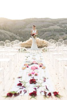 Stunning Floral Ombre Aisle Decor   Carlie Statsky Photography   Luxe Bohemian Wedding in Jewel Tones
