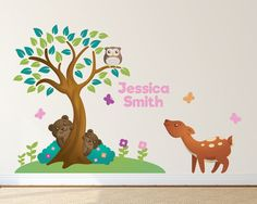 Forest Animals Tree Nursery Decals Woodland by LullaberryDecals Kids Room Wall Decals, Animal Wall Decals, Nursery Wall Decals, Baby Nursery Decor, Nursery Themes, Wall Art, Custom Vinyl Wall Decals, Forest Theme, Forest Animals