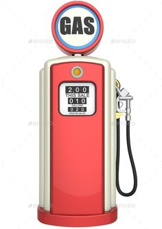 Retro gas pump isolated on white background. 3D render. Include JPG and transparent PNG