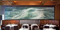 The back wall of New York's Le Bernardin, dominated by a triptych by Ran Ortner. Photo by Eduard Hueber/Arch Photo.