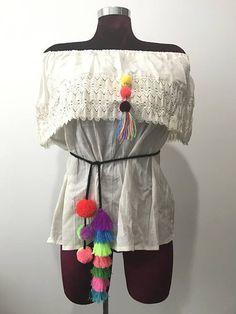 Pom poms tassels belt / colorful mexican folk accessories /