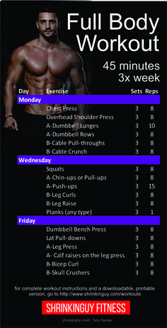 strength training: This is a balanced, a week full body workout routine. Each session is about 45 minutes. Its a beginner to intermediate level workout that assumes you know the basics of dumbbell and barbell strength training. Workout Plan For Men, Weekly Workout Plans, Workout Plan For Beginners, Gym Workout Tips, Week Workout, Men Exercise, 3 Day Split Workout, Workout Programs For Men, 45 Minute Workout