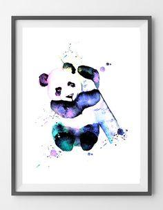 Printable Panda watercolor print Panda Bear by Mimidigitalprints