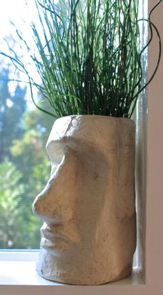 Our Easter Island Head Planter is made out of ceramic. It has a water drainage hole on the bottom Perfect as a housewarming gift or as a decoration in your garden. There are 2 finishes you can choose from Mate and Glossy 7 inches High 5 inches depth 5 i Face Planters, Garden Planters, Indoor Garden, Indoor Plants, Planters Shade, Sculptures Céramiques, Garden Sculptures, Sculpture Clay, Decoration Plante