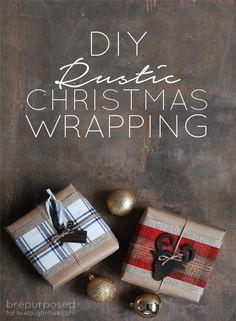 DIY Rustic Christmas Wrapping - brepurposed www.brepurposed.com
