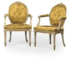 GEORGE III WHITE-PAINTED AND PARCEL-GILT OPEN ARMCHAIRS ATTRIBUTED TO THOMAS CHIPPENDALE, CIRCA 1770
