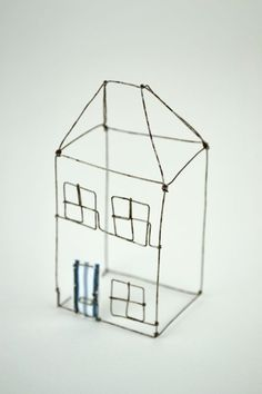 This would be such a cute idea for a dollhouse (for your dollhouse) Small Wire House by Louise Dawn Wilson