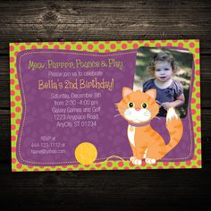 Kitty Cat Birthday Photo Invitation -- PRINT YOUR OWN -- Any Color on Etsy, $12.99