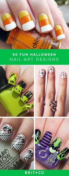 Catchy Halloween inspired nail art ideas.